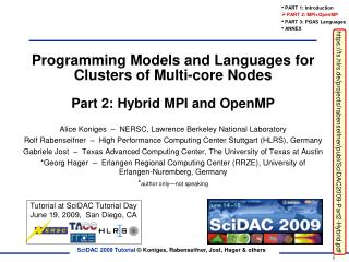 Programming Models and Languages for Clusters of Multi-core Nodes Part 2: Hybrid MPI and OpenMP