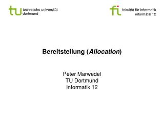 Bereitstellung ( Allocation )