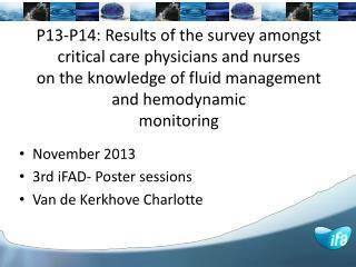 November 2013 3rd iFAD- Poster sessions Van de Kerkhove Charlotte