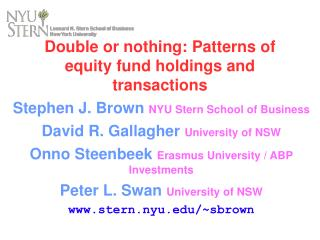 Double or nothing: Patterns of equity fund holdings and transactions