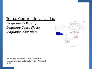 Tema: Control de la calidad  Diagrama de Pareto, Diagrama Causa Efecto Diagrama Dispersión