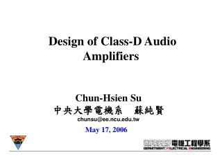 Design of Class-D Audio Amplifiers