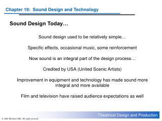 Sound Design Today…