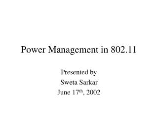 Power Management in 802.11