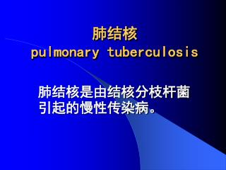肺结核 pulmonary tuberculosis