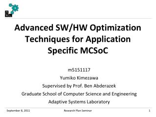 Advanced SW/HW Optimization Techniques for Application Specific  MCSoC