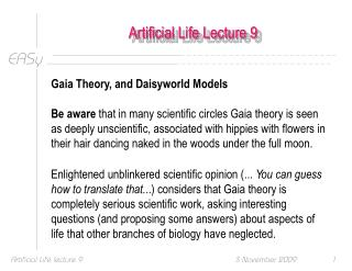 Artificial Life Lecture 9