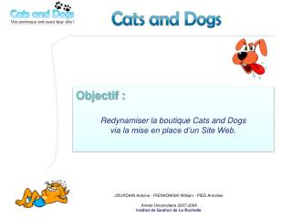 Objectif  :  R edynamiser la boutique Cats  and  Dogs via la mise en place d'un  Site  Web.