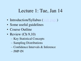 Lecture 1: Tue, Jan 14