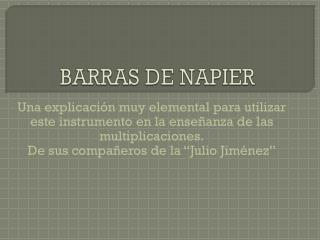 BARRAS DE NAPIER