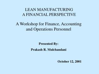 LEAN MANUFACTURING  A FINANCIAL PERSPECTIVE