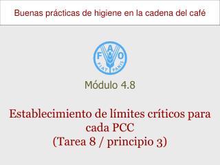 Establecimiento de límites críticos para cada PCC  (Tarea 8 / principio 3)