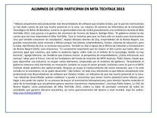 ALUMNOS DE UTBB PARTICIPAN EN MITA TECHTALK 2013