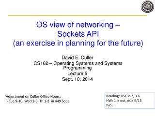 OS view of networking –  Sockets API (an exercise in planning for the future)