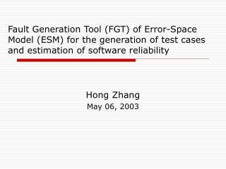 Hong Zhang May 06, 2003