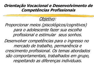 Orientação Vocacional e Desenvolvimento de Competências Profissionais