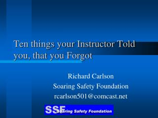 Ten things your Instructor Told you, that you Forgot