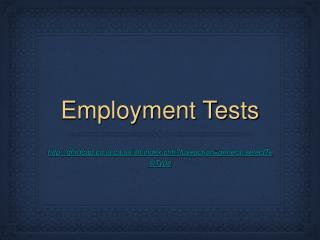 Employment Tests