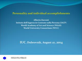 Personality and individual accomplishments Alberto Zucconi