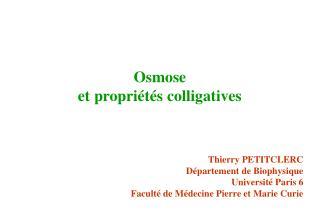 Osmose et propriétés colligatives