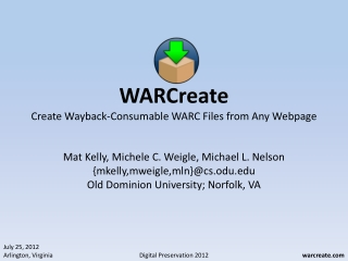 WARC Format and Beyond