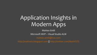 Application Insights in Modern Apps