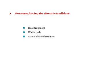 Heat transport      Water cycle      Atmospheric circulation