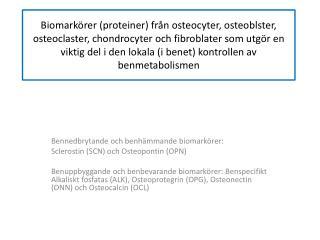 Bennedbrytande och benhämmande biomarkörer: Sclerostin  (SCN) och  O steopontin  (OPN)