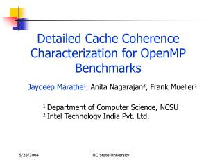 Detailed Cache Coherence Characterization for OpenMP Benchmarks