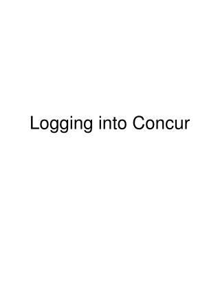 Logging into Concur