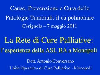 La Rete di Cure Palliative: l'esperienza della ASL BA a Monopoli