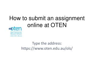 How to submit an assignment online at OTEN