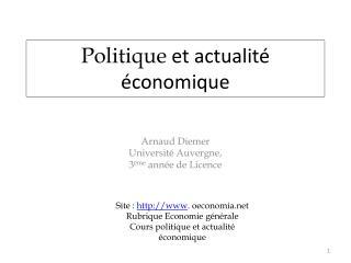 Politique  et actualité économique