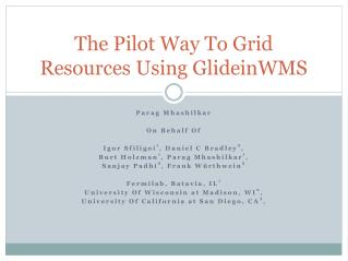 The Pilot Way To Grid Resources Using GlideinWMS