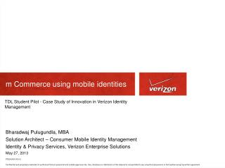 m  Commerce using mobile  identities