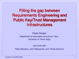 Filling the gap between Requirements Engineering and Public Key