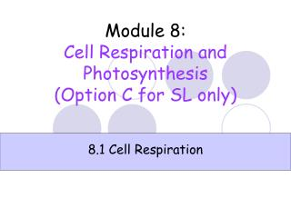 Module 8 : Cell Respiration and Photosynthesis (Option C for SL only)
