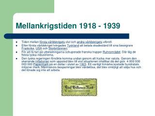 Mellankrigstiden 1918 - 1939