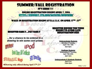 Summer/Fall Registration It's here !!!