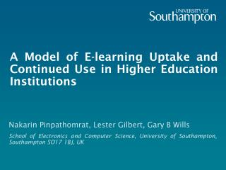 A Model of E-learning Uptake and Continued Use in Higher Education Institutions