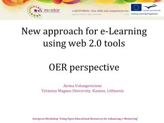 New approach for e-Learning using web 2.0 tools OER perspective
