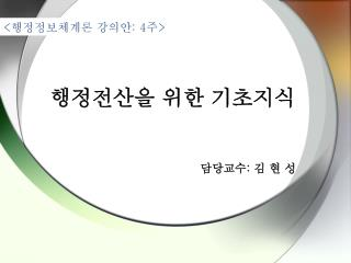 담당교수 :  김 현 성