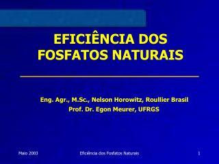 EFICIÊNCIA DOS FOSFATOS NATURAIS
