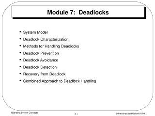 Module 7:  Deadlocks