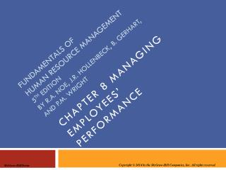 Chapter 8 managing employees' performance
