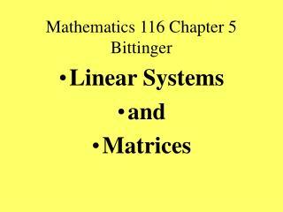 Mathematics 116 Chapter 5 Bittinger