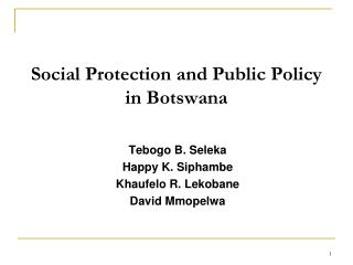 Social Protection and Public Policy in Botswana