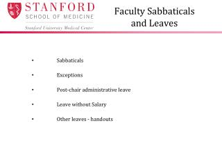 Faculty Sabbaticals  and Leaves