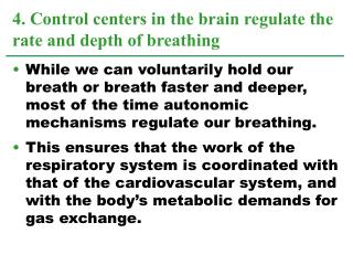 4. Control centers in the brain regulate the rate and depth of breathing