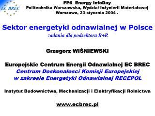 Sektor energetyki odnawialnej w Polsce zadania dla podsektora B+R Grzegorz WIŚNIEWSKI